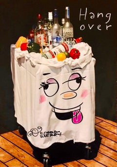 "Mixed Media ""Hangover"" Vodka Bar Cart Pop Art Drawing NYC Street Art"