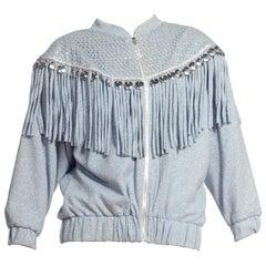Epic Blue Knit Silver Lurex Fringe Shoulder Pad 1980S Jacket