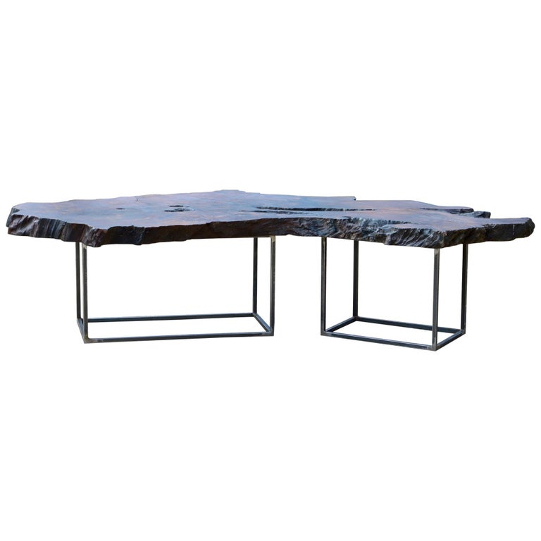 Redwood Coffee Table: Epic Live Edge California Redwood Coffee Table For Sale At