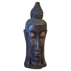 Epic Thai Patinated Terracotta Buddha Head with Elongated Face, 20th Century
