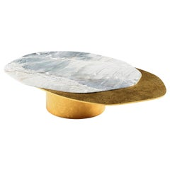 """Epicure II"" Center Table ft. Quartzite and Windy Gold Brass by Grzegorz Majka"