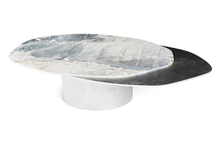 """""""The Epicure III"""" Contemporary Center Coffee Table ft natural quartzite Venom and solid aluminium plates in """"Windy Nickel"""" finish.  Luxury doesn't always follow the common patterns. Luxury goes beyond and almost like one of the best gourmets joins"""
