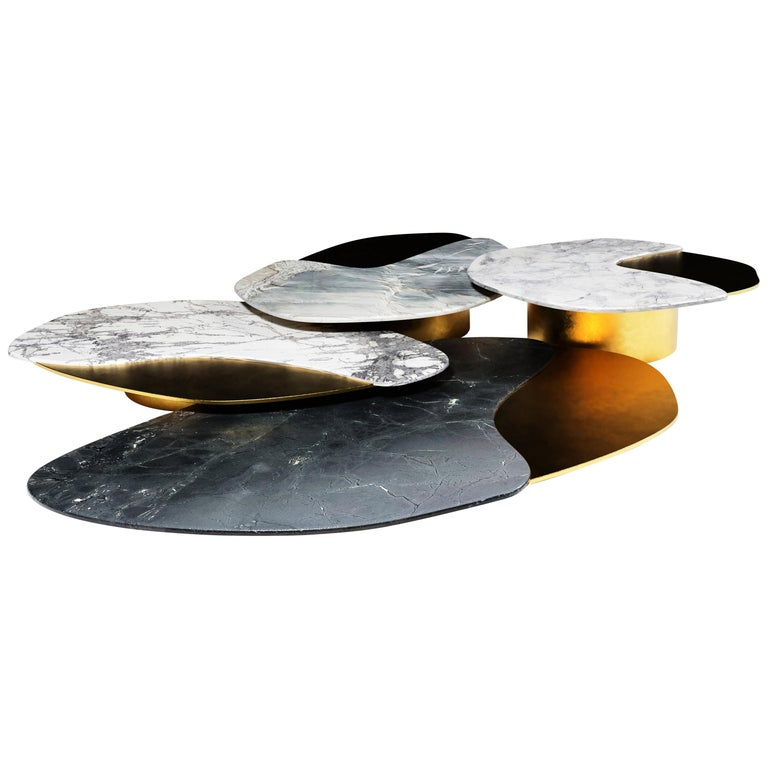 """""""Epicure I"""" Center Table ft. Antique Brass and Quartzites by Grzegorz Majka For Sale"""
