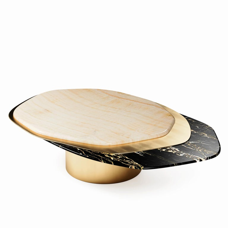 """""""The Epicure VI"""" Contemporary Center Coffee Table ft Nero Portoro Marble, Ivory Onyx and solid Brass in """"Satin"""" finish.  Luxury doesn't always follow the common patterns. Luxury goes beyond and almost like one of the best gourmets joins varied"""