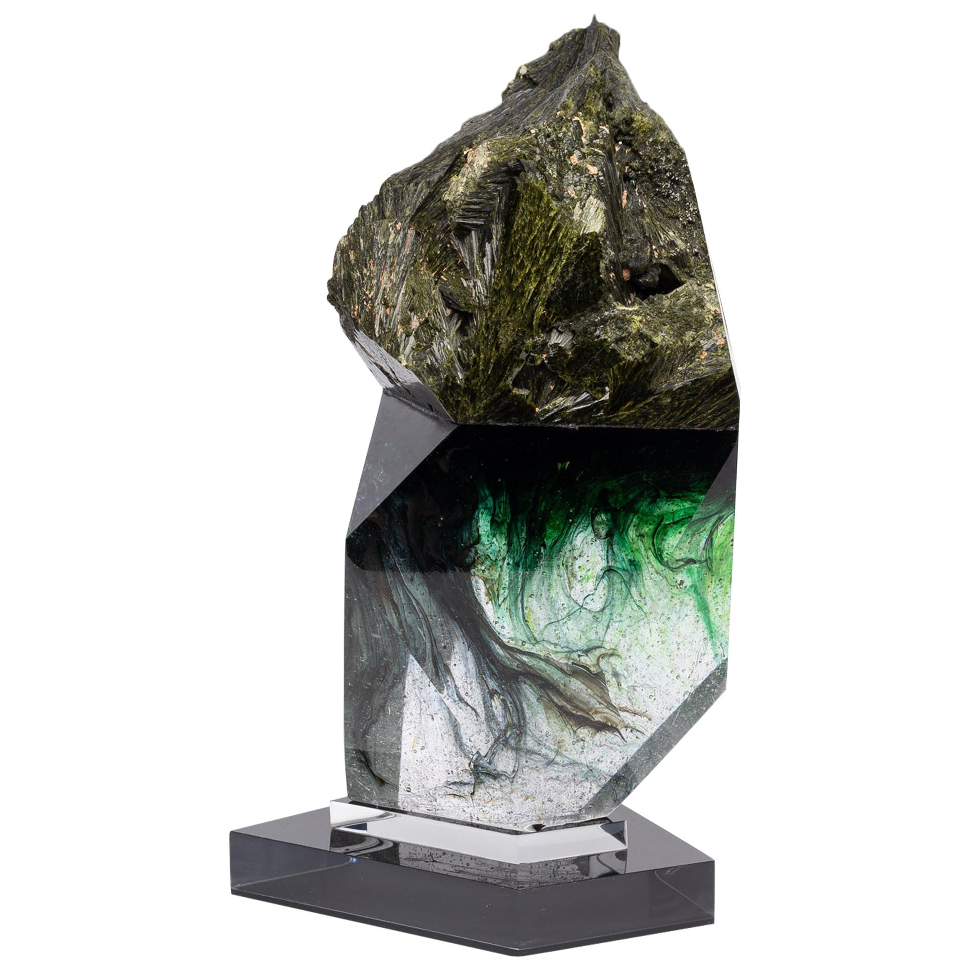 Epidote And Green Shade Glass Organic Shape Sculpture From Tyme
