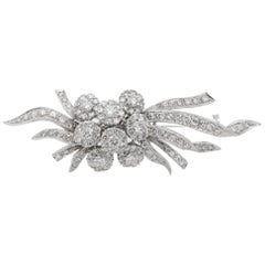 Glamorous 5.0 Ct Diamonds 50's Flower Spray brooch