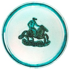 """Epona on Horseback,"" Gorgeous Pale Green Art Deco Plate by Mayodon"
