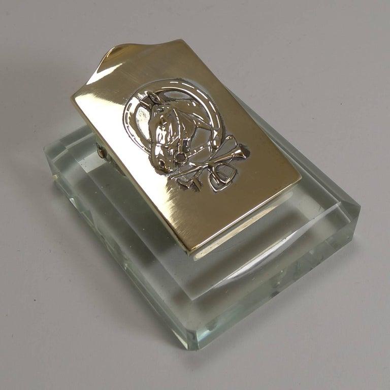 Cool Equestrian Brass And Glass Desk Letter Clip Circa 1910 Beutiful Home Inspiration Xortanetmahrainfo