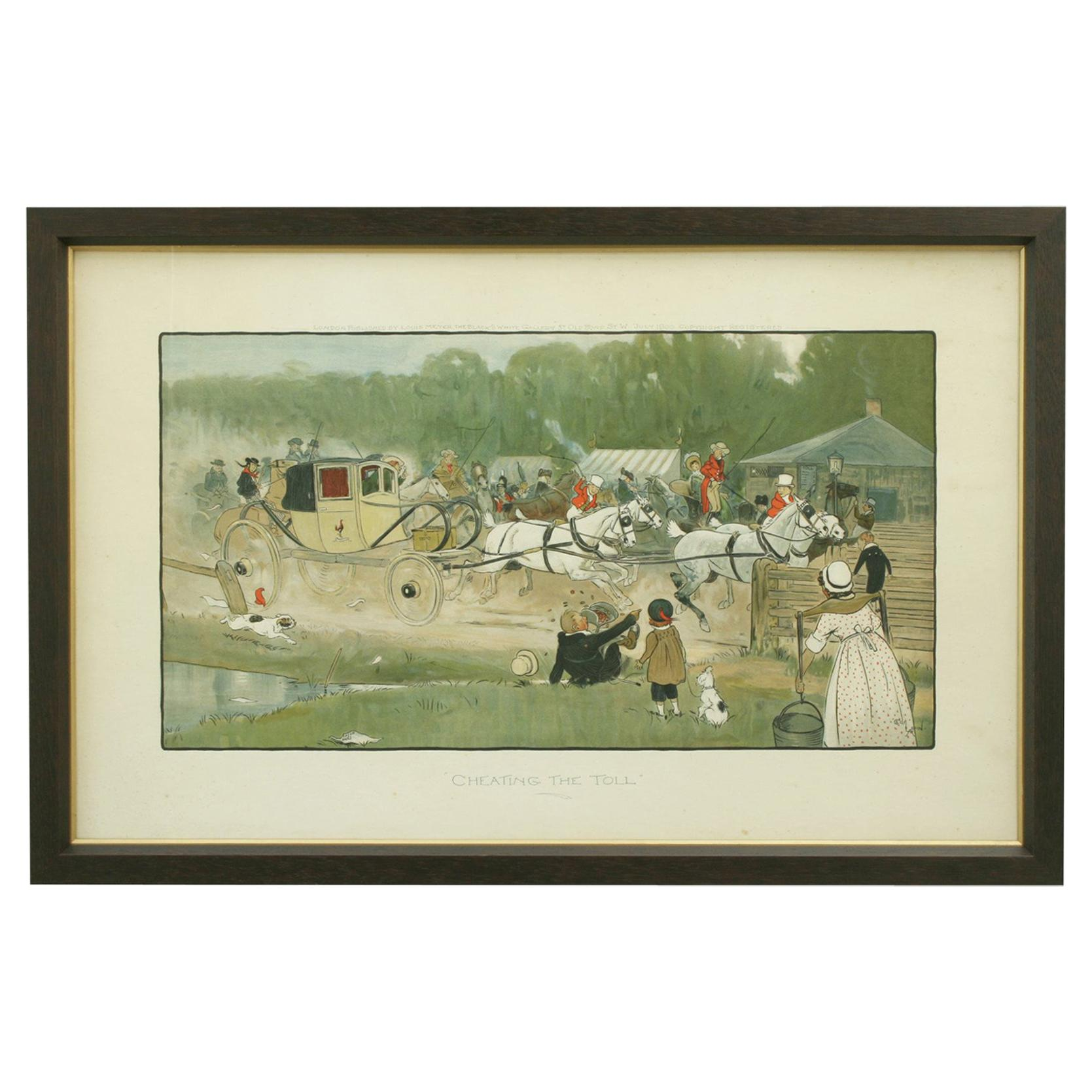 "Equestrian Coaching Print, ""Cheating the Toll"" by Cecil Aldin"