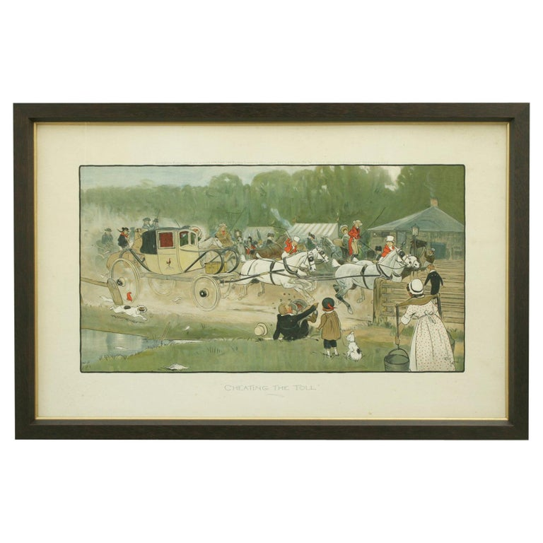 """Equestrian Coaching Print, """"Cheating the Toll"""" by Cecil Aldin For Sale"""