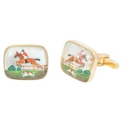 Equestrian Cufflinks of a Hunting Scene in Crystal Mounted in Gold English, 1960