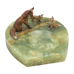 Equestrian Desk Piece, Vienna Bronze Foxes, Cold Painted, Horseshoe