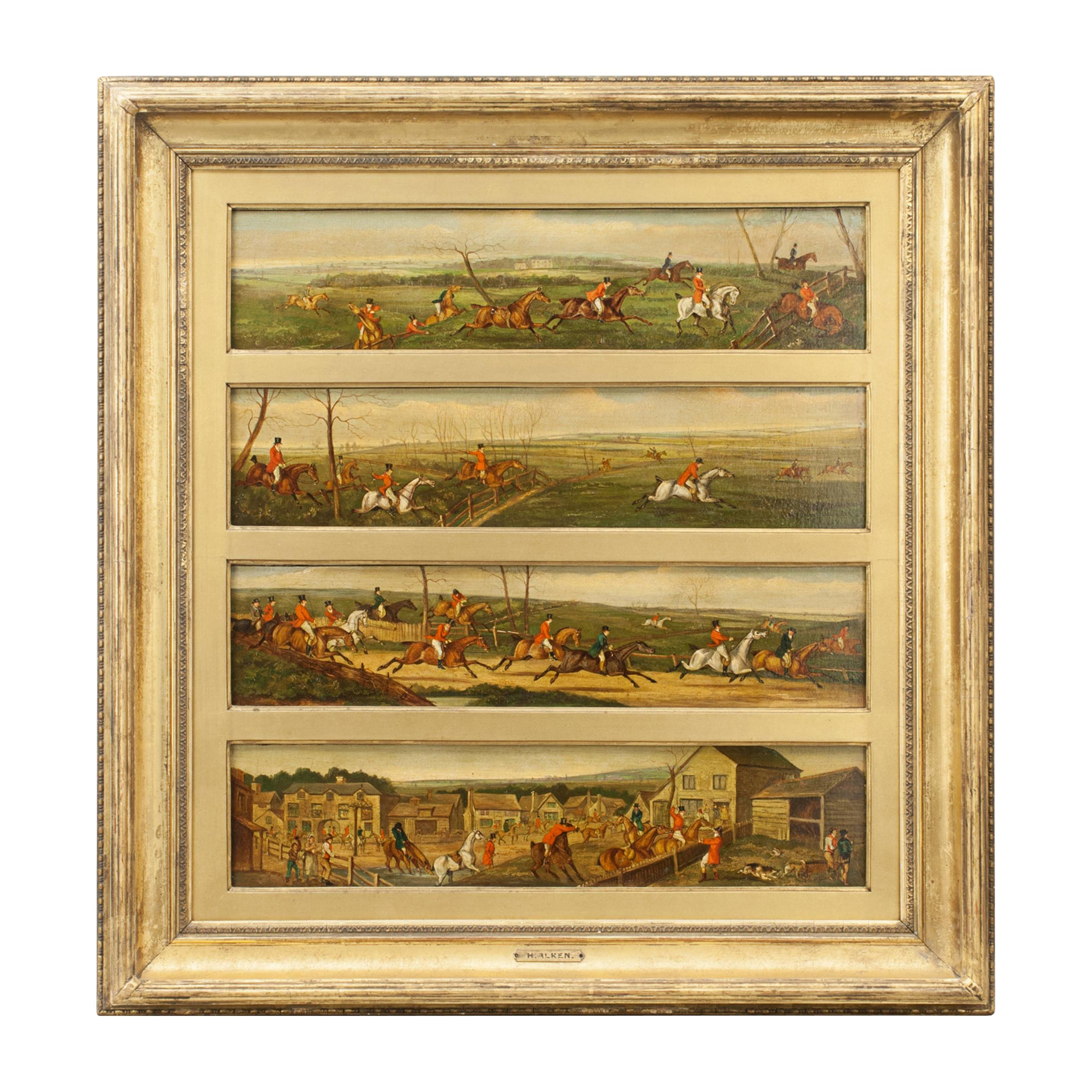 Equestrian, Fox Hunting Oil Paintings Attributed to Henry Alken