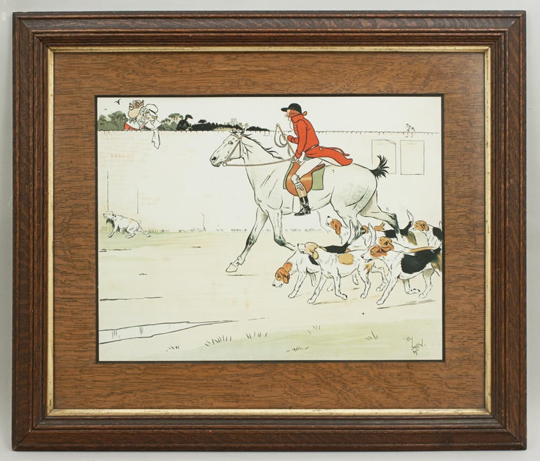 Admiration, Cecil Aldin. Early humorous hunting print by Cecil Aldin 'Admiration'. A great chromolithograph in original oak frame with gold slip and an oak mount. The image shows a red-coated huntsman leading the hunting pack with two young ladies