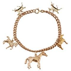 Equestrian Horse Theme Yellow Gold Charm Bracelet
