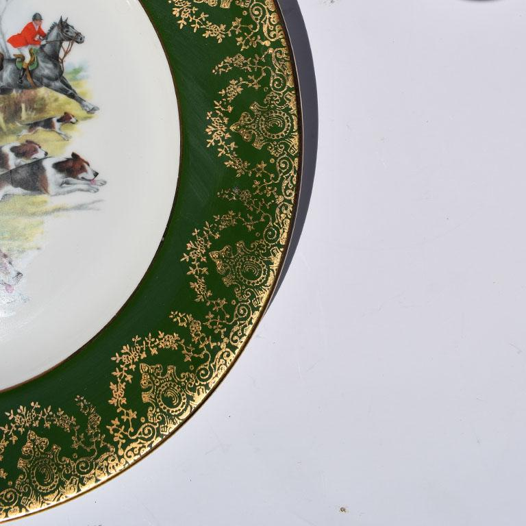 American Classical Equestrian Hunting Scene Plate in Green and Gold For Sale
