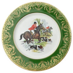 Equestrian Hunting Scene Plate in Green and Gold