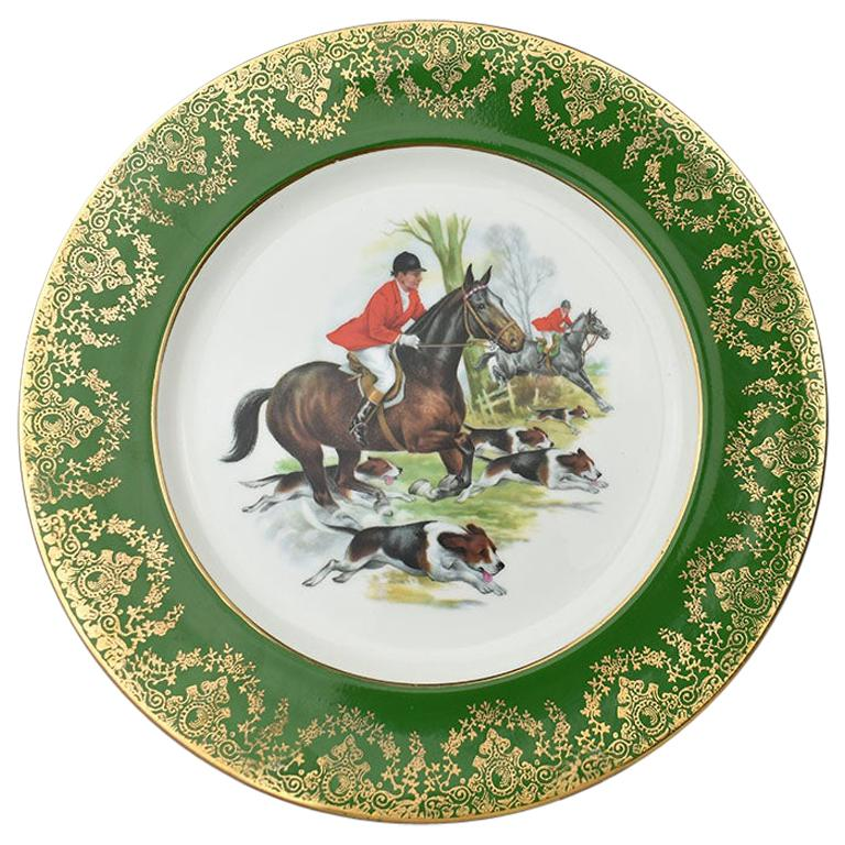 Equestrian Hunting Scene Plate in Green and Gold For Sale