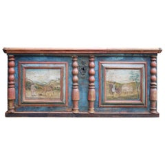 Blanket Chest, Blue Painted  with Equestrian Scenes, Italy 1800