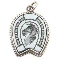 Equestrian Horse Charm Intaglio Silver Pendant