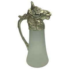 Equestrian Silver Plate Nickel Horse Head and Frosted Glass Decanter Pitcher