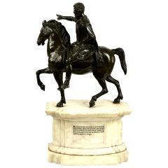 Equestrian Statue of Emperor Marcus Aurelius on Marble Plinth