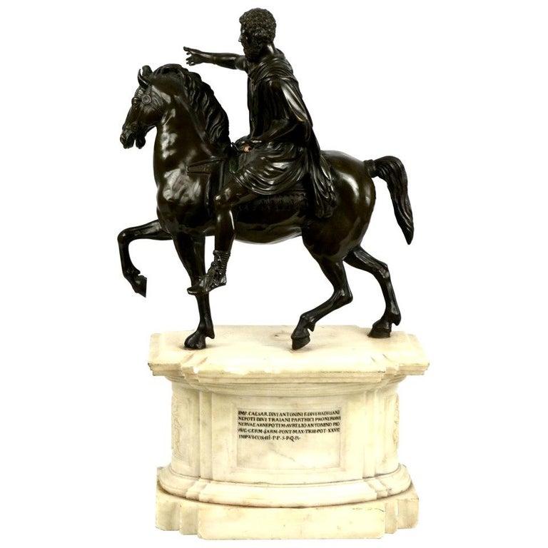 Equestrian Statue of Emperor Marcus Aurelius on Marble Plinth For Sale