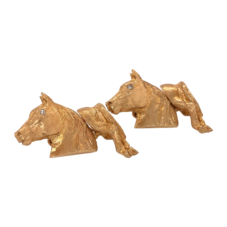 Equestrian Style 14 Karat Yellow Gold Cuff Links