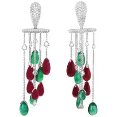 'Equilibrium' Earring Featured Ruby Emerald Diamond Cocktail Stunner