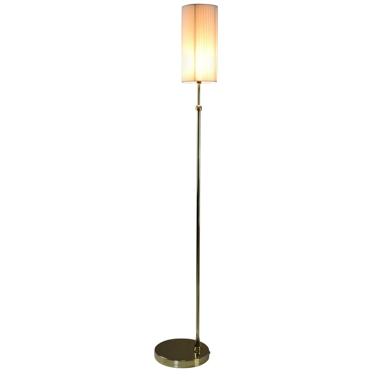 Equilibrium-I Contemporary Handcrafted Adjustable Brass Floor Lamp For Sale