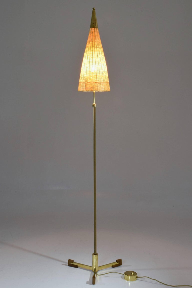 Modern Equilibrium-II Contemporary Brass Leather Rattan Floor Lamp, Flow Collection For Sale
