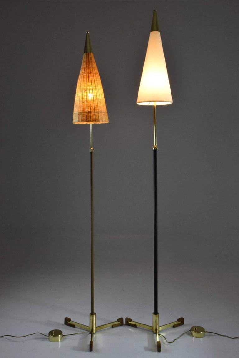 Polished Equilibrium-II Contemporary Brass Leather Rattan Floor Lamp, Flow Collection For Sale