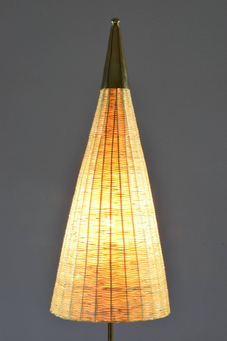 Equilibrium-II Contemporary Brass Leather Rattan Floor Lamp, Flow Collection In New Condition For Sale In Paris, FR