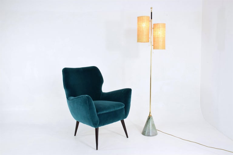 Equilibrium-III Contemporary Wicker and Marble Brass Floor Lamp For Sale 12