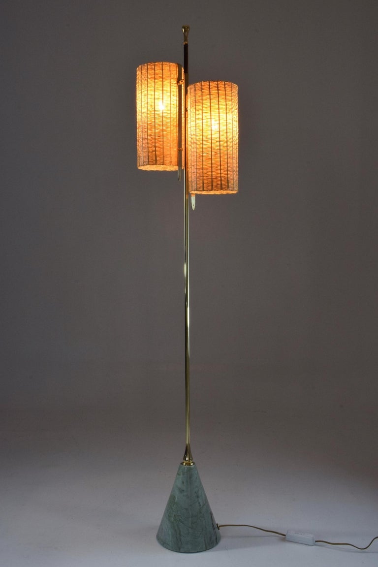 Modern Equilibrium-III Contemporary Wicker and Marble Brass Floor Lamp For Sale