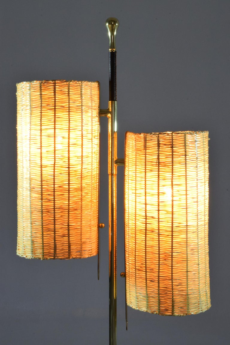 Unknown Equilibrium-III Contemporary Wicker and Marble Brass Floor Lamp For Sale