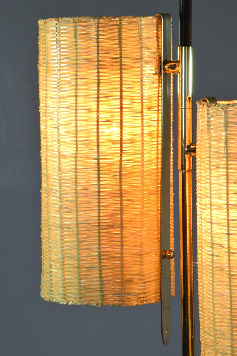 Equilibrium-III Contemporary Wicker and Marble Brass Floor Lamp For Sale 3