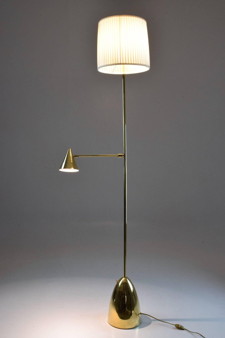 European Equilibrium-IV Contemporary Double Light Brass Floor Lamp, Flow Collection For Sale