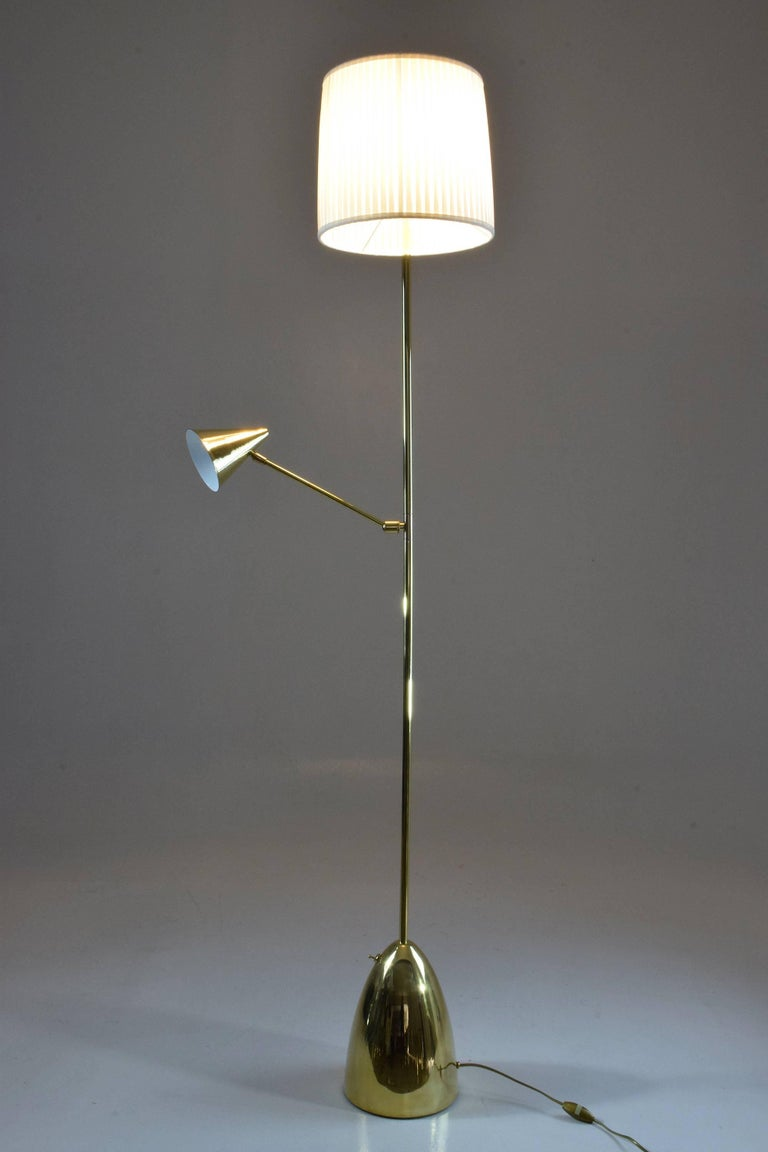 Equilibrium-IV Contemporary Double Light Brass Floor Lamp, Flow Collection For Sale 1