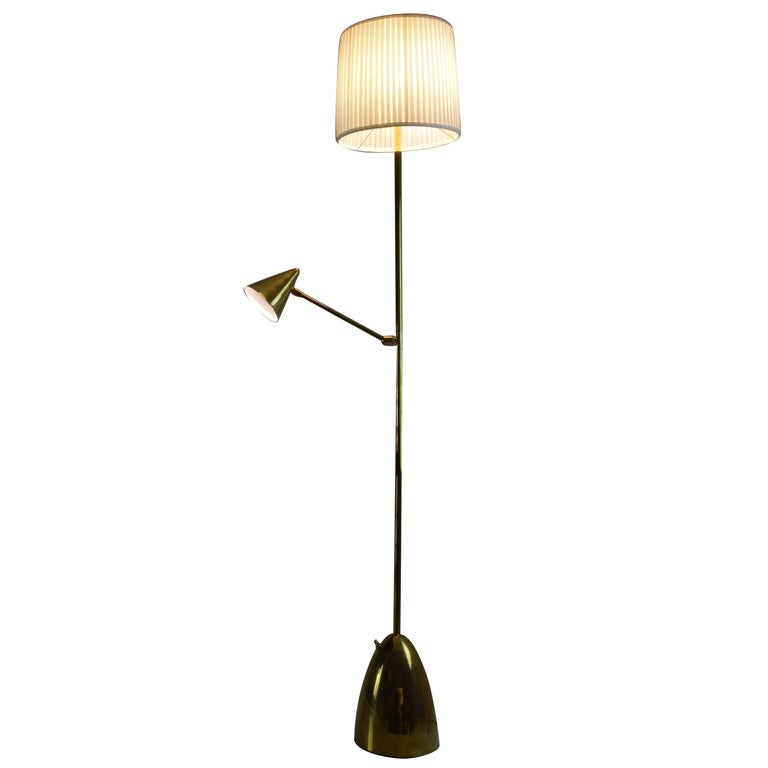 Equilibrium-IV Contemporary Double Light Brass Floor Lamp, Flow Collection For Sale