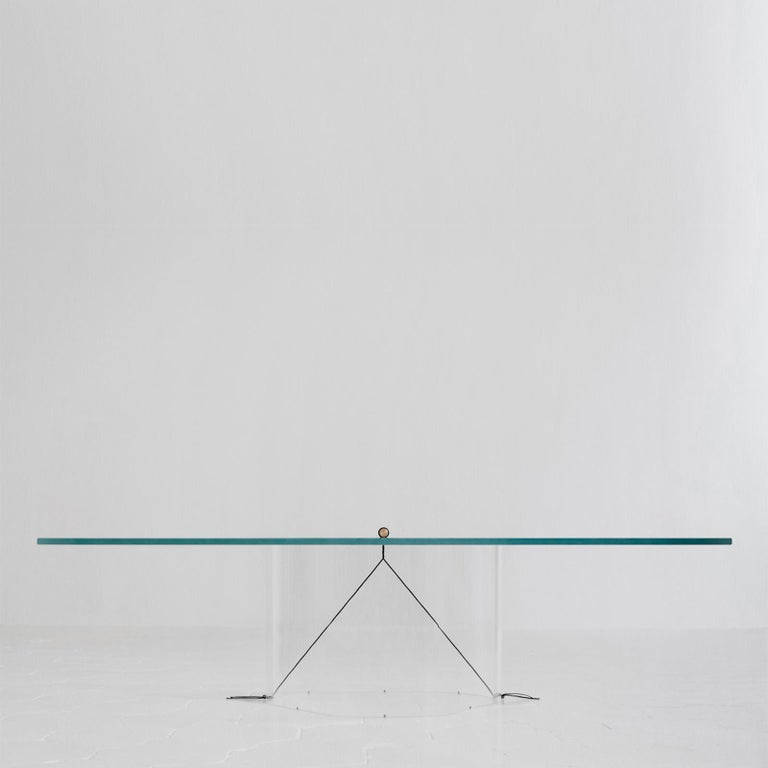 Modern Equilibrium Low Table with Glass Top by Guglielmo Poletti For Sale
