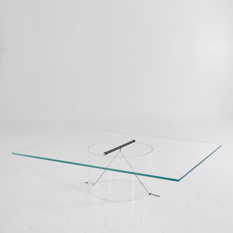 Italian Equilibrium Low Table with Glass Top by Guglielmo Poletti For Sale