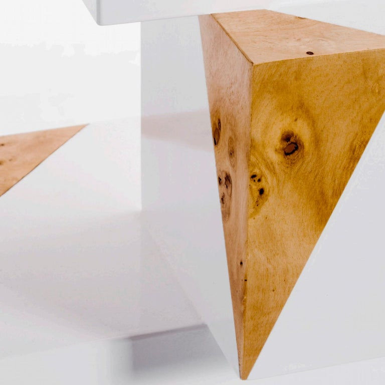 Wood Equilibrium Pop White Console, Limited Edition of 7, Contemporary Design Table For Sale
