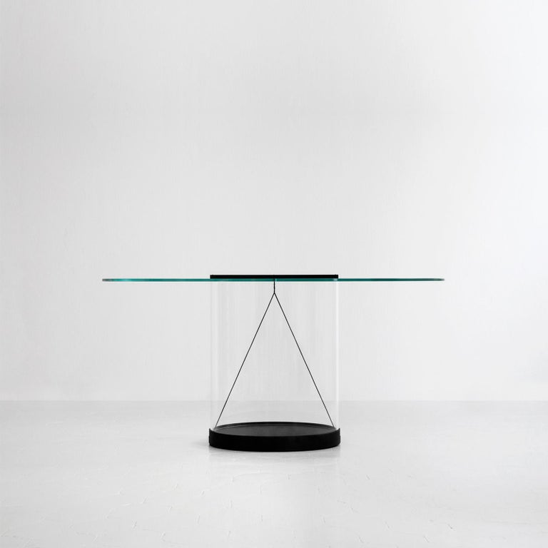 Modern Equilibrium Round Table with Glass Top by Guglielmo Poletti For Sale