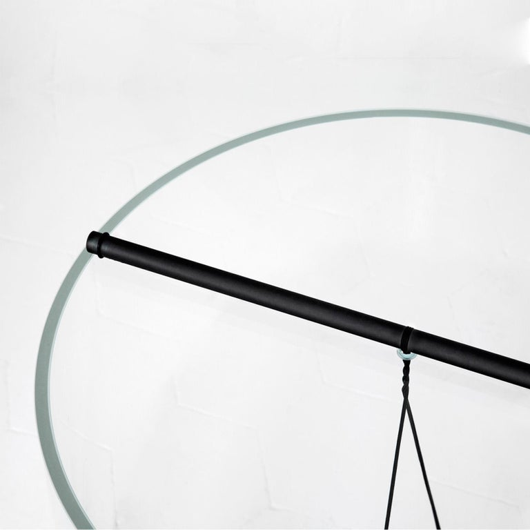 Italian Equilibrium Round Table with Glass Top by Guglielmo Poletti For Sale