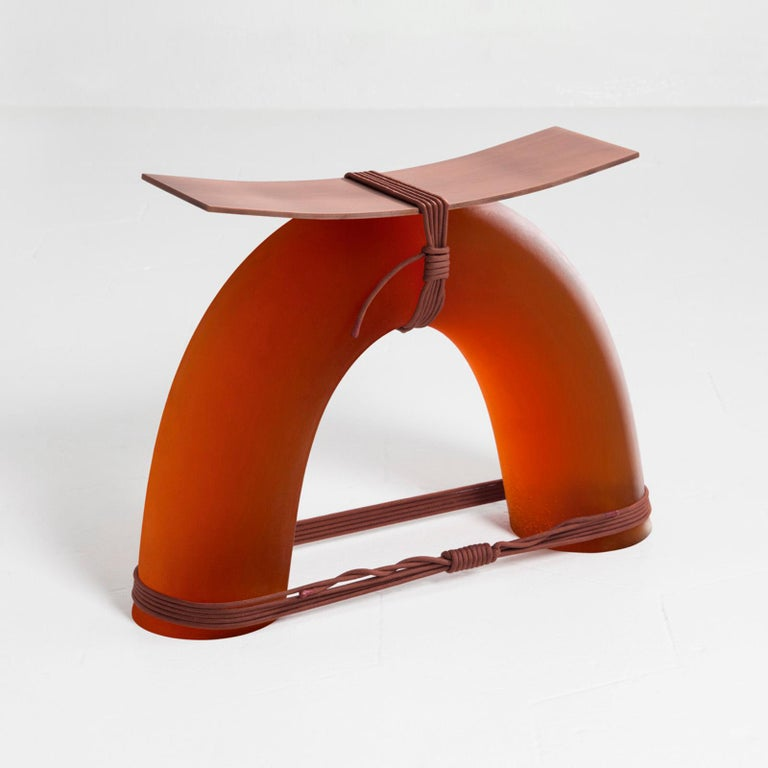 Modern Equilibrium Stool in Copper by Guglielmo Poletti For Sale