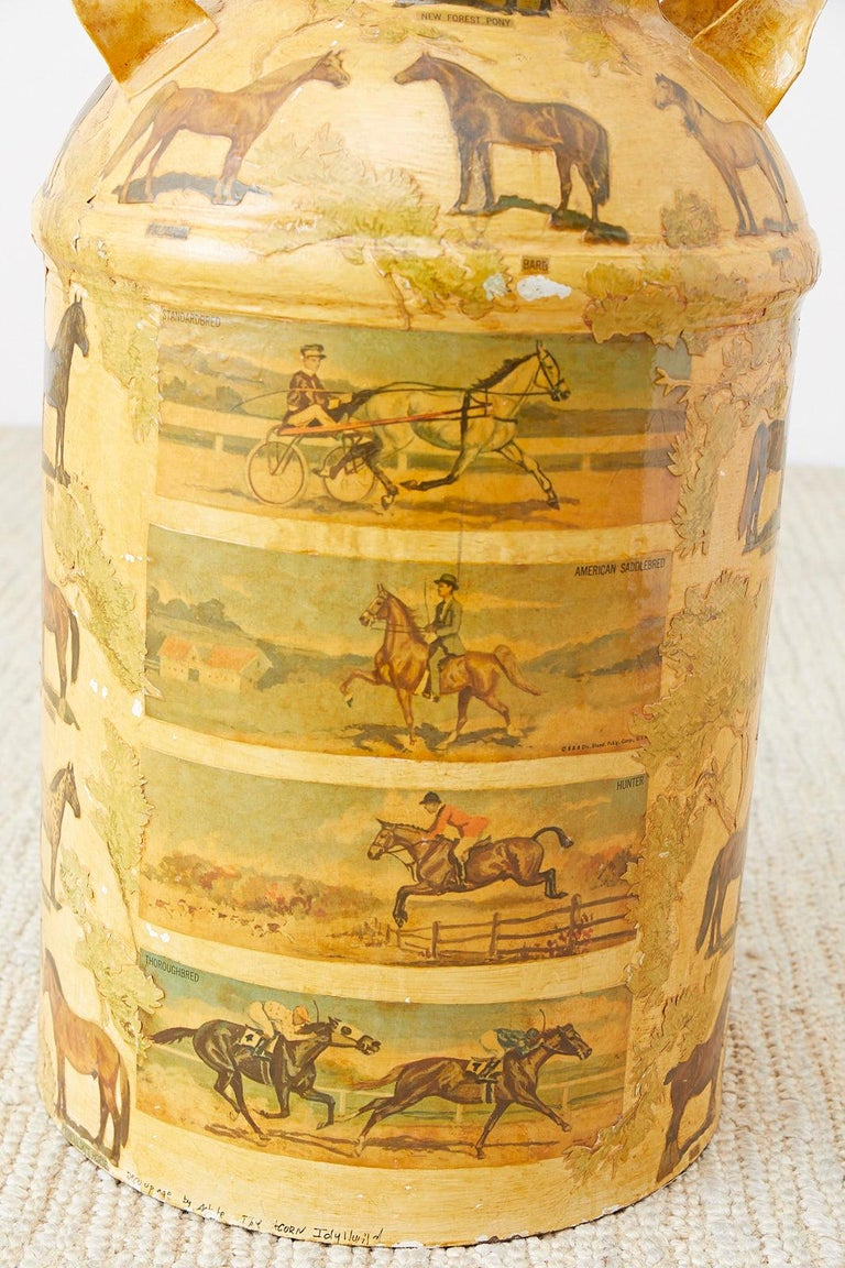 Equine Decoupage Decorated Dairy Farm Milk Jug For Sale 3