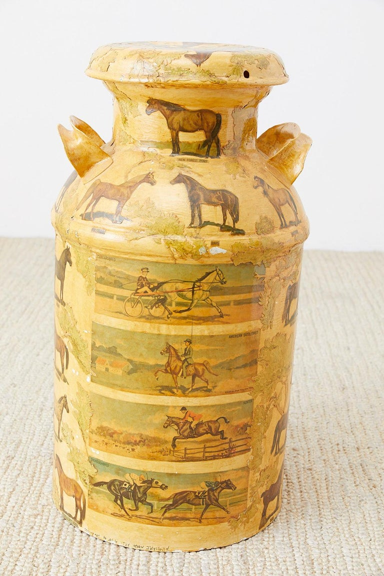 Equine Decoupage Decorated Dairy Farm Milk Jug For Sale 4