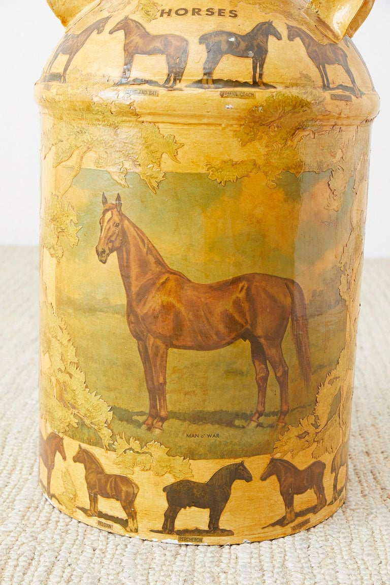 American Equine Decoupage Decorated Dairy Farm Milk Jug For Sale
