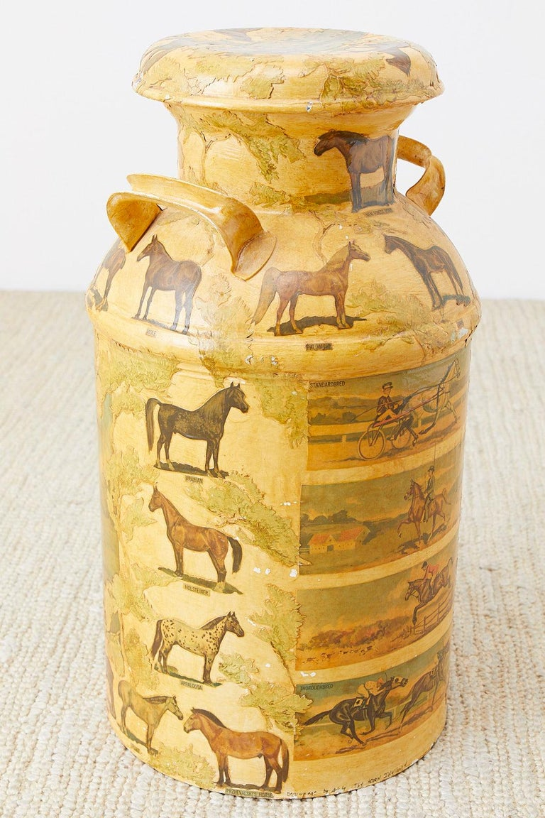 Metal Equine Decoupage Decorated Dairy Farm Milk Jug For Sale